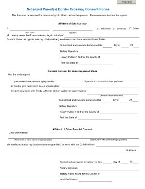 child travel consent form templates fillable printable
