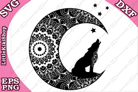 These designs are very detailed and the weeding can be very difficult when dealing. Zentagle Wolf and Moon Svg, MANDALA WOLF SVG By ...
