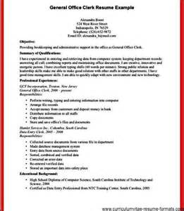 Clerk Qualifications Resume by Office Clerk Resume Free Sles Exles Format Resume Curruculum Vitae Free Sles