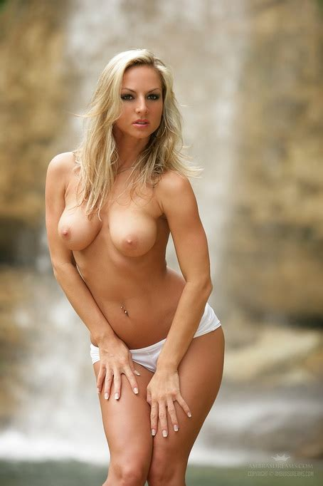 Blonde In Booty Shorts By The Waterfall Does Outdoor Nude