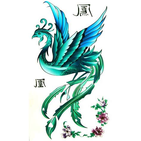 tatouage temporaire de phoenix bleu turquoise