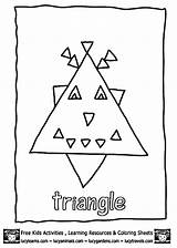 Coloring Preschool Triangle Pages Triangles Worksheets Trace Crafts Kindergarten Educational Toddler Print sketch template