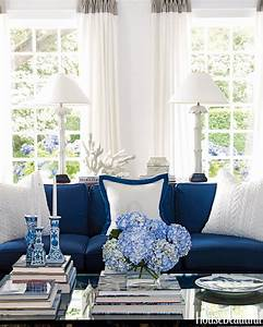Blue, And, White, Living, Room