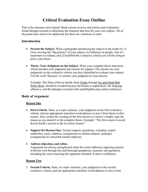 essay  evaluation outline    critical research proposal template qic