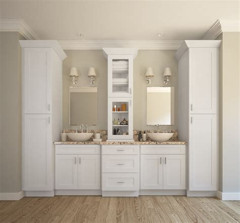 White Cabinets In Bathroom by Aspen White Shaker Ready To Assemble Bathroom Vanities