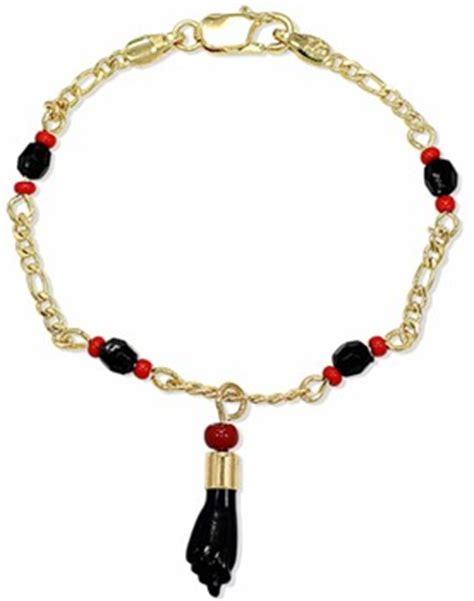 """Azabache Bracelet with Corals for Children. Gold Filled"