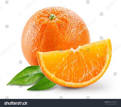 Orange Fruit Slice Leaves Isolated Stock Photo