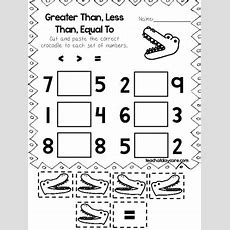 10 Greater Than, Less Than, Equal Cut And Paste The Crocodile Worksheets
