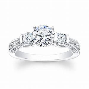 ladies platinum past present future engagement ring 060 ctw With past present future ring with wedding band