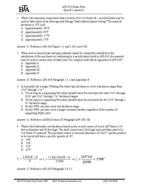 API 653 Quiz 1Answers | Corrosion | Test (Assessment)
