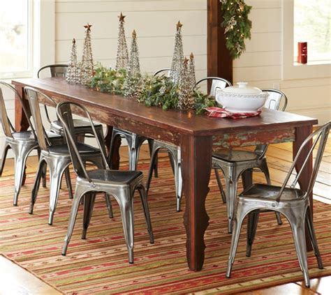 farm table with metal chairs love the wire trees christmas fun pinterest