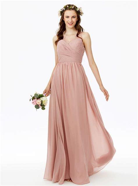 A-Line V Neck Floor Length Chiffon Bridesmaid Dress with ...