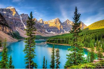 Lake Nice Moraine Lovely Mountain Canada Natural