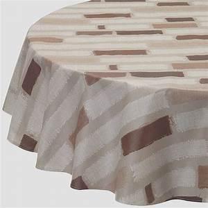 Nappe Ovale Enduite : nappe enduite ronde ou ovale rayure patch taupe ~ Teatrodelosmanantiales.com Idées de Décoration