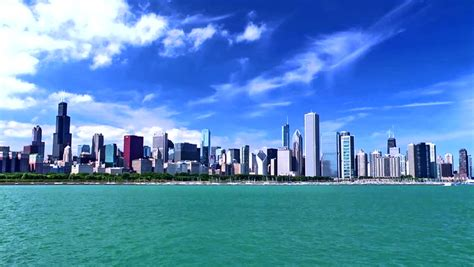 chicago skyline   beautiful stock footage video