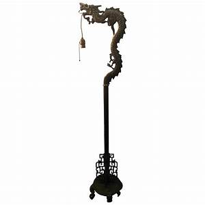 1920s fierce mystical chinese brass dragon floor lamp for for Oriental wood floor lamp