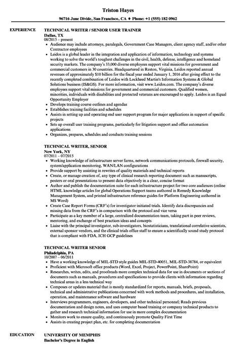 Technical Writer Resume by Technical Writer Senior Resume Sles Velvet