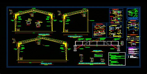 metal structure warehouse dwg plan  autocad designs cad