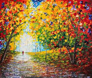 After Rain Autumn Reflections Acrylic Palette Knife ...