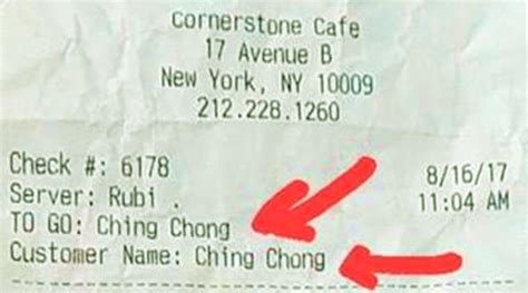 waiter writes ching chong  asian diners receipt