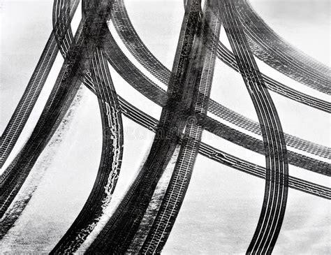 Car Tire Tracks Stock Photo