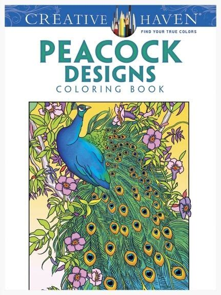 adult coloring book peacock designs perforated pages 4
