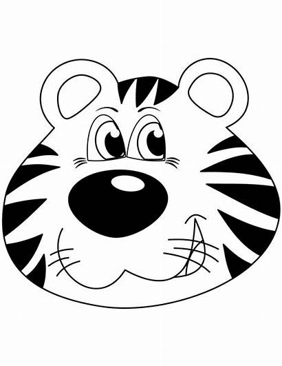 Tiger Coloring Cartoon Face Head Tigre Printable