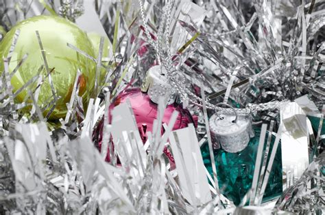 photo  silver tinsel  baubles  christmas images