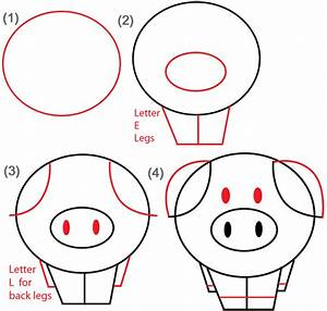 Big Guide to Drawing Cartoon Pigs with Basic Shapes for ...