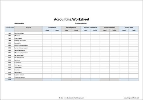 accounting worksheet template accounting accounting general ledger templates