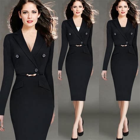 Hot New Spring 2016 Womens Office Dress Suit Collar Long