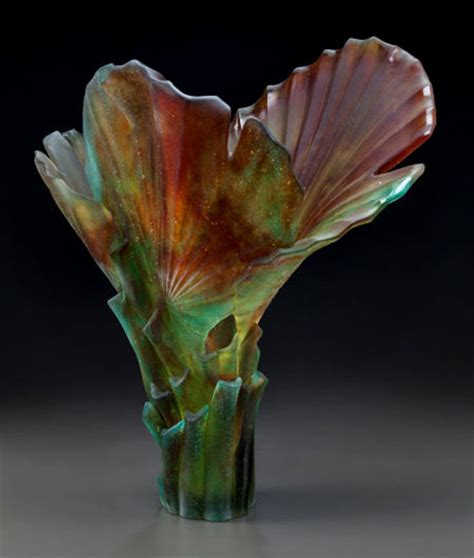 daum pate de verre glass palm magnum vase ceramics and
