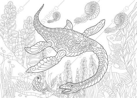 dinosaur plesiosaurus coloring book page zentangle