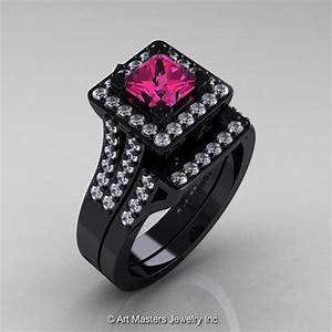 art masters french 14k black gold 10 ct princess pink With black gold pink sapphire wedding ring