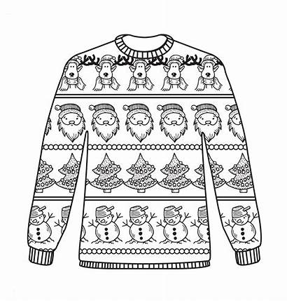 Sweater Ugly Coloring Christmas Colouring Jumpers Sheets