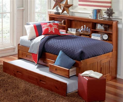Size Captains Bed With Trundle by Merlot Size Bookcase Captain S Day Bed With Trundle
