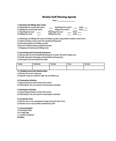 sample weekly agenda templates   ms word