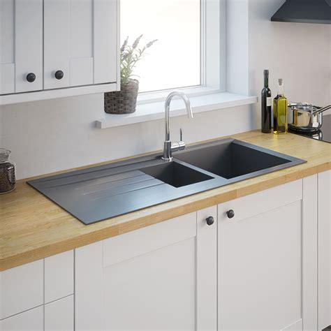 resin sinks kitchens 1 bowl grey resin kitchen sink reversible drainer inset 1893