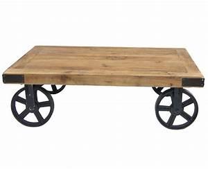 Roue Table Basse : table basse industrielle avec grosses roues cedre decostock ~ Teatrodelosmanantiales.com Idées de Décoration