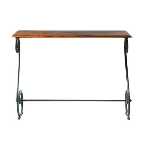 table de cuisine en fer forgé table console en fer forgé et bois de sheesham massif l