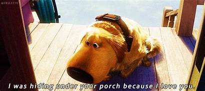 Porch Because Under Hiding Dug Dog Gifs
