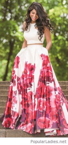 long floral skirt  crop top