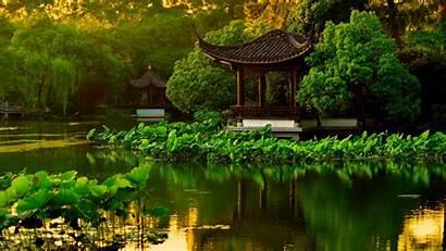 Japanese Garden Landscape Lake Desktop Wallpapers Backgrounds