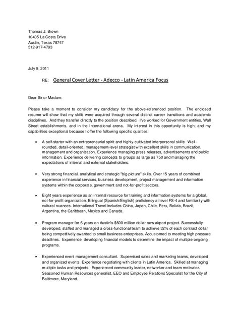 cover letter general adecco america focus