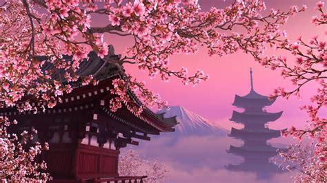 zhivye oboi dlya rabochego stolablooming sakura