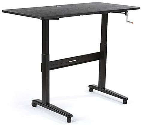 hand crank adjustable desk manual height adjustable desk black mdf steel construction