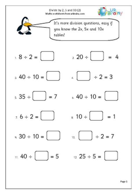 division worksheets year 2 divide by 2 5 and 10 2 division maths worksheets for year 2 age 6 7