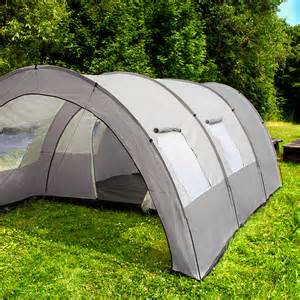 TecTake Camping tent 3000 mm hydrostatic head tunnel with foyer 4 – 6 man persons waterproof   grey- beige