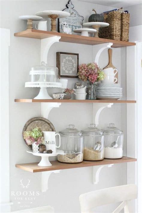 stylish rustic kitchen decor open shelves ideas 40