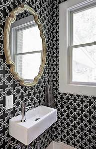 Powder Room with Black and White Moroccan Wallpaper ...